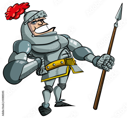 Cartoon knight in armour with a spear