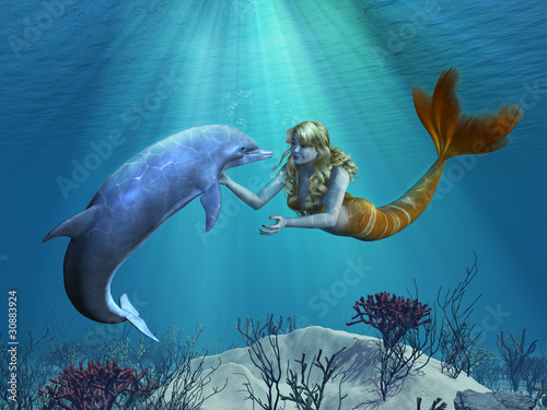 Wall Murals Mermaid Mermaid with Dolphin Undersea