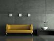canvas print picture 3d Rendering gelbes Ledersofa vor Betonwand