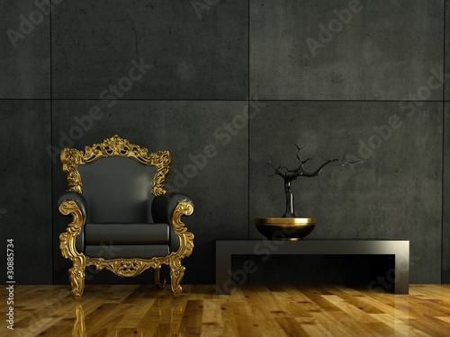Fotografie, Obraz  3d Rendering goldener Barocksessel vor Betonwand