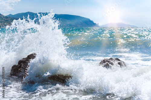 Photo sur Aluminium Eau Sea surf wave and sun