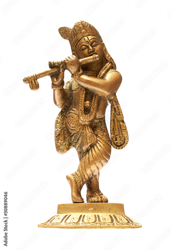 Idol Of Lord Krishna Isolated Over A White Background Wall Mural