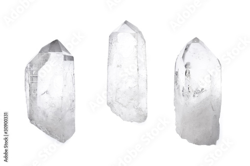 Photo Three quartz crystals