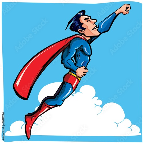 Autocollant pour porte Super heros Cartoon Superhero flying up and away