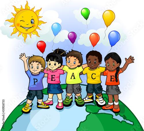 In de dag Regenboog Children united world of peace 2