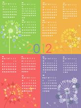 Colorful Dandelion Calendar 2012.