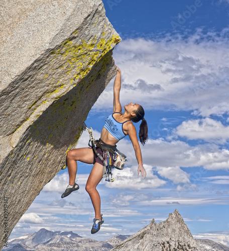 Canvas Print Female rock climber.