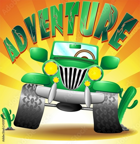 Poster de jardin Zoo Jeep Geep Auto Fuoristrada Avventura Adventure-Vector