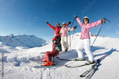 Cuadros en Lienzo portrait ski famille