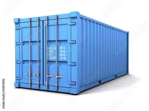 Fotografía  3d Blue shipping container