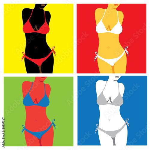 фотография bikini in popart style - illustration