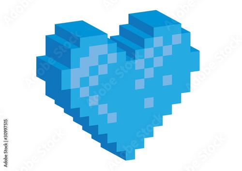 Foto op Aluminium Pixel 3D Pixel blue heart - illustration