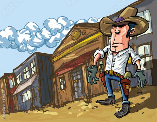 Poster Ouest sauvage Cartoon cowboy casts a shadow