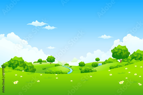 Deurstickers Blauw Green Landscape with trees