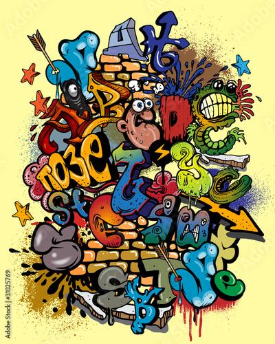 Foto op Aluminium Graffiti Graffiti elements vector