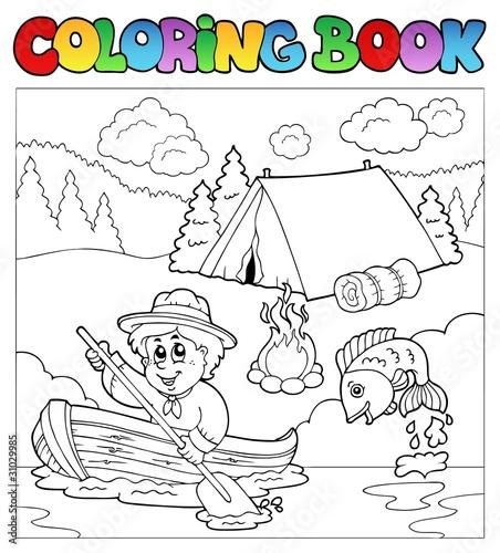 Tuinposter Doe het zelf Coloring book with scout in boat