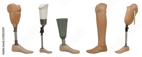 Valokuva  Five prosthetic leg isolated on a white background