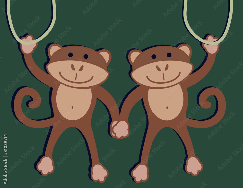 Fotografie, Obraz Two Monkeys
