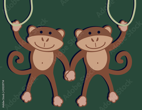 Canvas Print Two Monkeys
