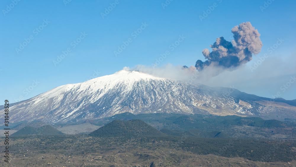 Fényképezés  Volcano Etna And Column Of Smoke