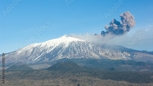 Volcano Etna And Column Of Smoke Wallpaper Mural