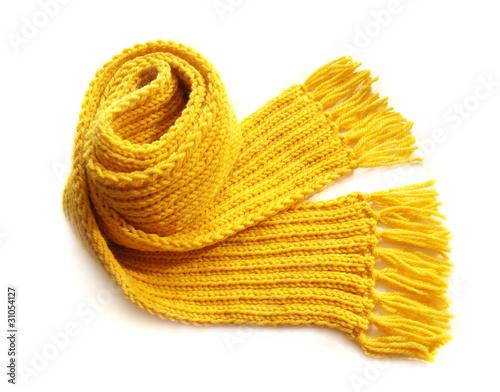 Fotografie, Obraz  yellow knitted scarf