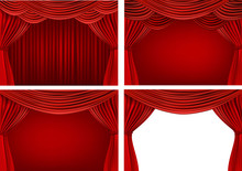 Four Backgrounds With Red Velv...