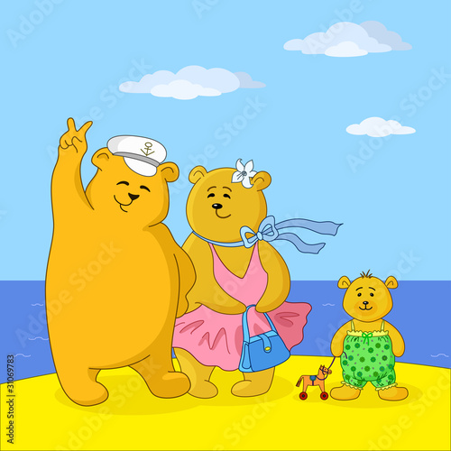 Wall Murals Bears Teddy bears family on a beach