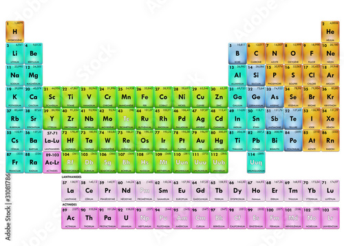 Periodic Table Of Elements Fr Couleur Buy This Stock Illustration