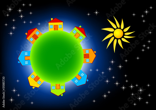 Garden Poster Cosmos Green Earth with colorful houses in universe
