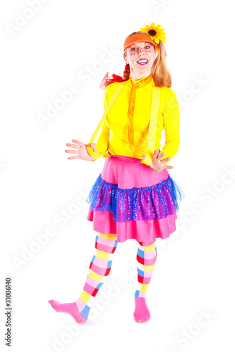 Photo  A girl dressed as Pippi Longstocking