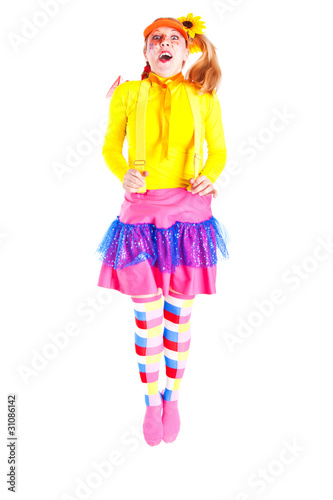 A girl dressed as Pippi Longstocking Tablou Canvas