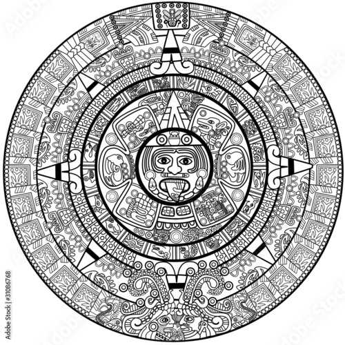 Fotografie, Obraz Vector Maya calendar