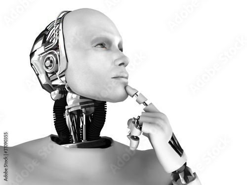 Photo  Male robot thinking about something.