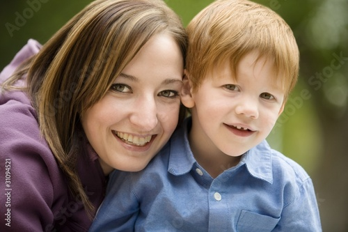Fotografie, Obraz  Portrait Of A Mother With Son
