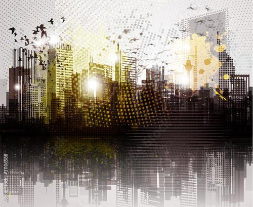 Grunge city panorama