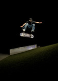 skateboard action at night