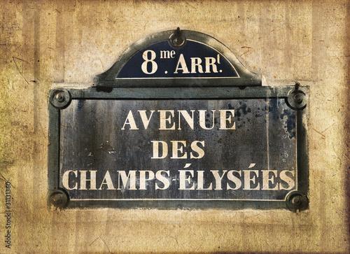 Fotografie, Obraz  Plaque Champs Elysées, style photo ancienne