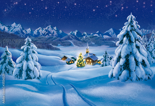 Foto-Doppelrollo - Weihnachtslandschaft (von Xavier)