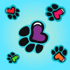 Fototapeta na wymiar Animal tracks with hearts