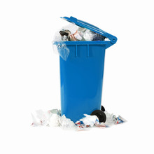 Overflowing Blue Garbage Bin