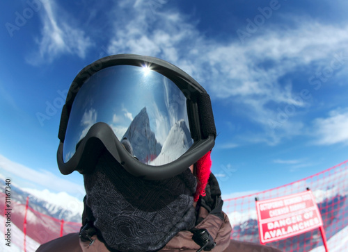 Acrylic Prints Winter sports The man in the goggles from the sun