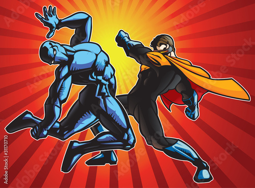 Staande foto Superheroes Super Fight