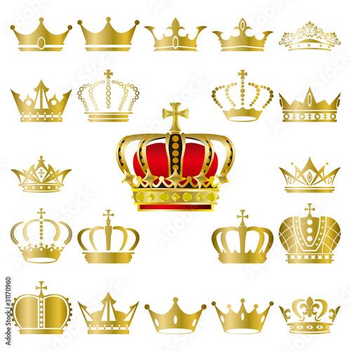 Crown icons set Canvas Print