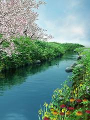 Obraz na Szkle Woda Krople Wiosenna sceneria z rzeką i kwitnącymi drzewami