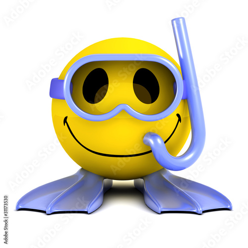Photo  3d Smiley goes swimming with a snorkel
