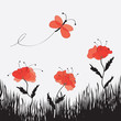 Cartoon landscape with poppies, butterfly and grass
