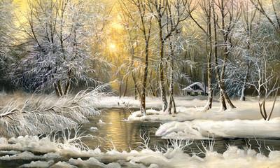 Fototapeta Zima Wood lake