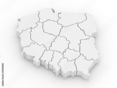 Three-dimensional map of Poland. 3d