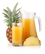 Jug And Glass Of Pineapple Juice With Fruits Isolated